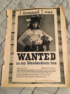 Vintage 1960 Magazine Print Ad - I Dreamed I was Wanted in my MAIDENFORM BRA