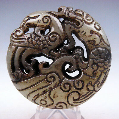 Vintage Nephrite Jade Carved Pendant Sculpture Curly Dragon & Phoenix #03301708