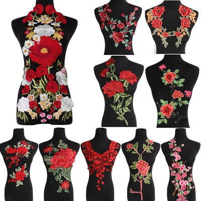 Embroidered Flower Applique Motif Collar Neck Trim Patches Sewing On Cloth Dress