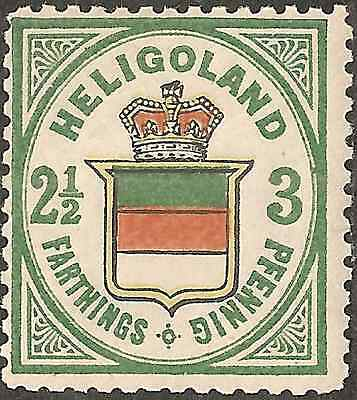 UN-USED 1876 HELIGOLAND 2.1/2 f  3 pf STAMP British Empire COLONY Coat of Arms