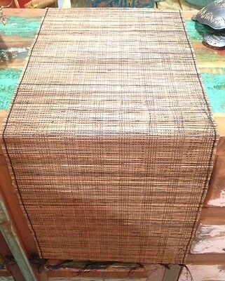 Lidi Stick Table Runner With Fringe Brown Black Balinese Dining Table 180cm