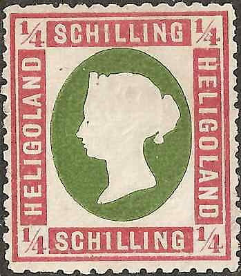 UN-USED 1873 HELIGOLAND 1/4 Schilling STAMP British Empire COLONY Red Frame