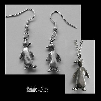 Earrings & NECKLACE #2015 Pewter LITTLE PENQUINS (21mm x 10mm) Silver Tone SET