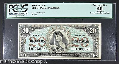 Series 661 $20 Dollar MPC, PCGS Ext. Fine 40 U.S. Military Payment Certificate