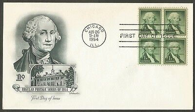 Us Fdc 1954 Washington 1C Stamp Artmaster First Day Of Issue Cover Chicago Ill