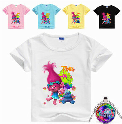 Princess Trolls Kids Girl Short Sleeve T-shirt Children Tops Girls' Clothing