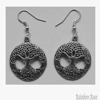 Earrings #377 Pewter Tree of Life (27mm) - Silver Tone