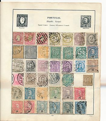 Early Portugal stamp collection on old album page