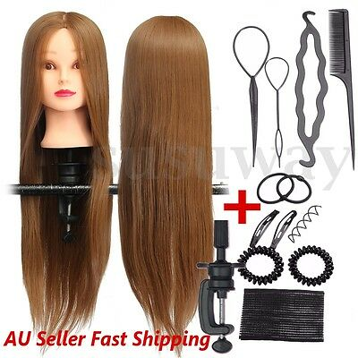 26'' Hairdressing Training Head Clamp Synthetic Hair Mannequin Practice Doll Set