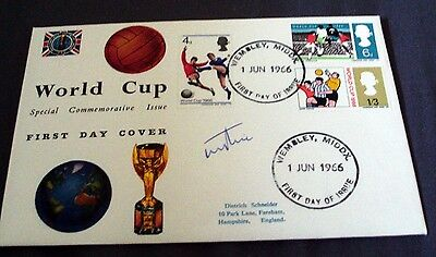 1966 World Cup First Day Cover Signed By Terry Paine, Wembley Postmark.