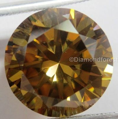 Genuine loose moissanite 9.33 ct cognac brown color round cut 14.01 mm for rings