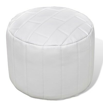 S# Foot Stool Leather Round Footrest Ottoman Seat Home Footstool White Chair Sof