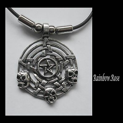 Choker #1250 Pewter PENTAGRAM SKULLS (45mm x 34mm) GOTH Rubber Necklace PENDANT