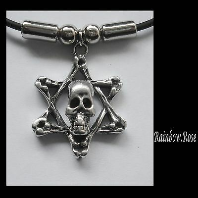 Choker #1238 Pewter SKULL STAR PENDANT (31mm x 24mm) GOTH Rubber Necklace