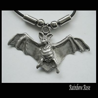 Choker #1095 Pewter FLYING BAT (55mm x 31mm) GOTH Rubber Silicon Necklace UNISEX