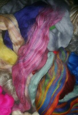 300g + of  mixed wool tops spinning felting