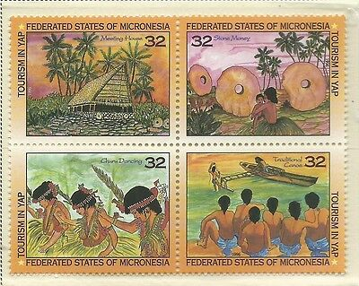 1996 Tourism in Yap Block of 4 set of 4  Complete MUH/MNH as Issued