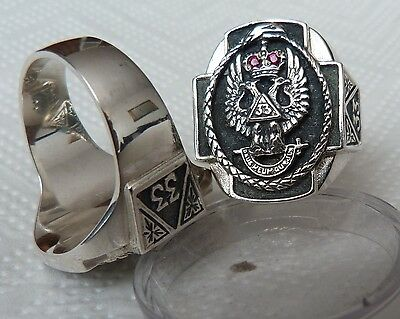 Free Mason Ring silver 925 Masonic Scottish Rite 33rd Degree