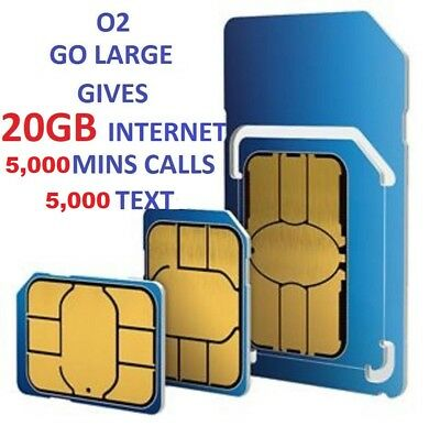 Official O2 Network Pay As You Go 02 Sim Card Sealed Unlimited 20 Gb Internet !!