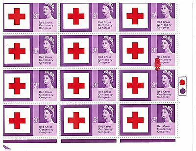 ERROR  SMUDGE IN PRINTING 1963 RED CROSS 3d  MISTAKE STAMP SG642