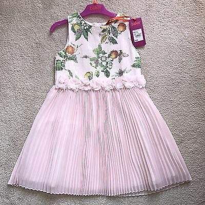❤️BNWT❤️Beautiful Baker By Ted Baker Pink Sequin Pleated Blossom Dress 5-6 Years