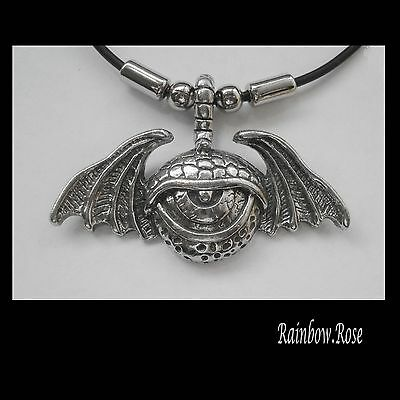 Choker #1503 Pewter WINGED MONSTER EYE (55mm x 35mm) Rubber Necklace GOTH HORROR