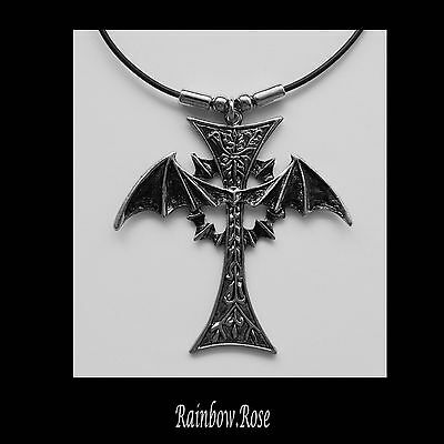 Choker #512 GOTHIC Cross BAT wings (70mm x 70mm) Goth - UNISEX Rubber necklace