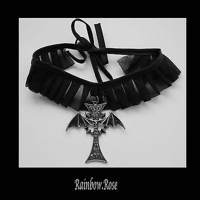 Choker #511 GOTHIC Cross BAT wings (70mm x 70mm) Pleated fabric necklace Goth