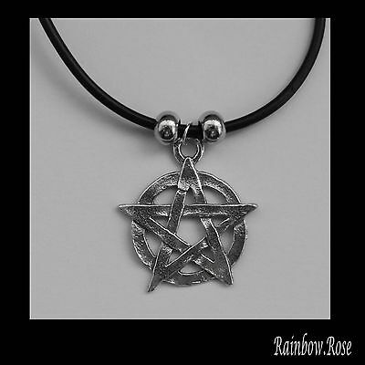 Choker #114 Pewter PENTAGRAM (25mm) Rubber Silicon Cord Necklace