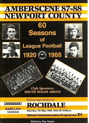NEWPORT v Rochdale 1987/8 Last home game in the League