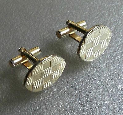 Quality Vintage Cufflinks 1960's 1970's Goldtone Metal Retro Mod Checked Design