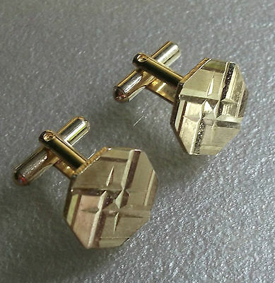 Quality Vintage Cufflinks 1960's 1970's Goldtone Metal Retro Mod Octagon Design