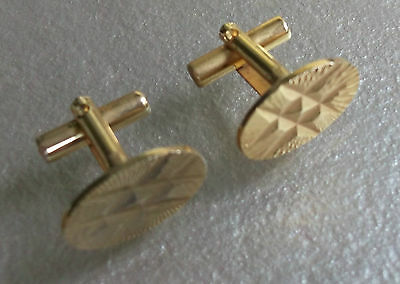 Oval Gold Coloured Cut Metal Vintage Cufflinks 1960's 1970's Mod