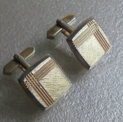 Quality Vintage Cufflinks 1960's 1970's Goldtone Metal Mod Striped Grid Design
