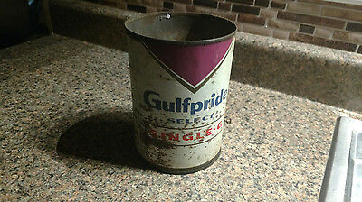 VINTAGE GULFPRIDE SINGLE G QUART OIL CAN Antique Tin Empty  No Top