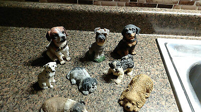8 Lot Dog Puppy Figurines Puppy Various Breed Slipping Sitting Vintage Resin