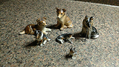 6 Lot Dog Puppy Ceramic Parcelain Figurines Puppy Vintage Miniature Small