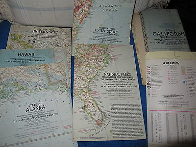 Vintage Maps (SIX)  Calif; NE USA; NW USA; Alaska, Hawaii, Nat Parks, Arizona