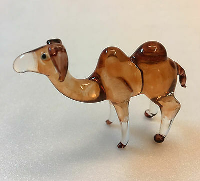 Camel Figurines Glass Brown Hand Painted Dessert Animal Gift Home Decor