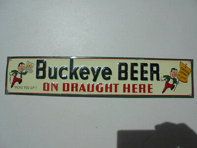 Old Vintage Buckeye Beer on Draught Here Tin Sign Bucky Toledo Ohio