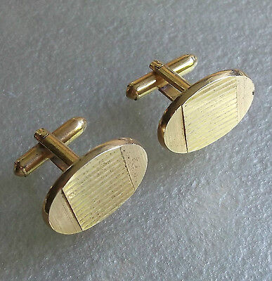 Vintage Cufflinks 1960's 1970's Mod Goldtone Metal Striped Cut Oval Design