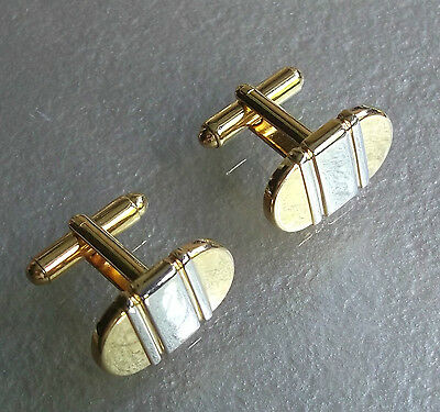 Vintage Cufflinks 1970's 1980's Mod Goldtone Silvertone Striped Metal