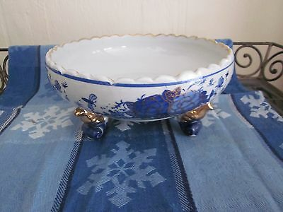 Blue White Chinese Outstanding Footed Hand Painted Bees Floral bowl Gold Trim