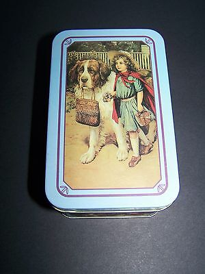 Vintage Collectible Tin with Adorable Little Girl and Saint Bernard Dog Graphic