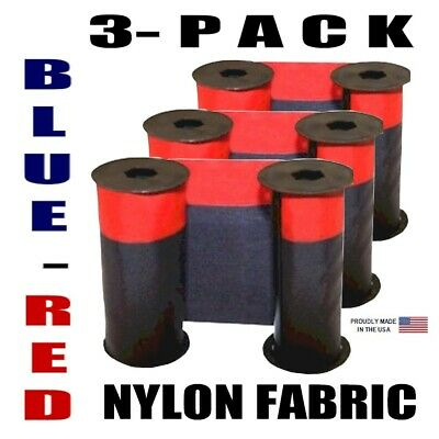 3-Pack, Acroprint 125, 150 Series Compatible Ink Ribbon, Nylon, BLUE-RED