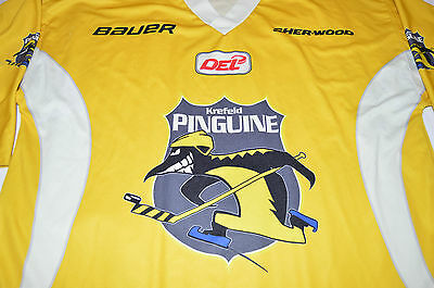 ★ KREFELD PINGUINE DEL GERMANY GAME WORN Practise Jersey, Gelb ★