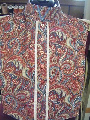 Red, Blues, Browns, Off-White, etc. Paisley Pattern Print Reversible Dickie Bib