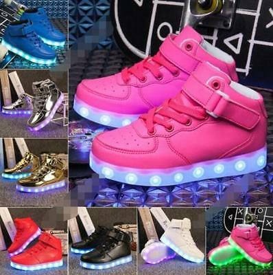 New Boys Girls USB 7 LED Light Up Shoes Kids High Top Luminous Casual Sneakers