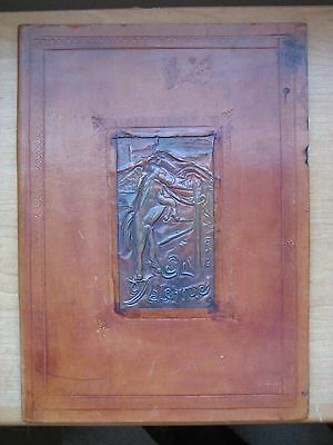 Vintage - Antique Handmade Leather Cover / Embossed Leather / Copper Art Work