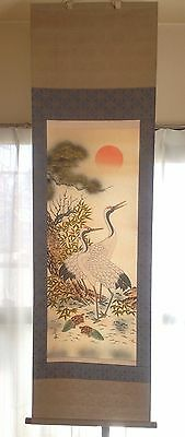 Japanese hanging scroll Kakejiku Crane Tortoise Classic Painting Art Japan